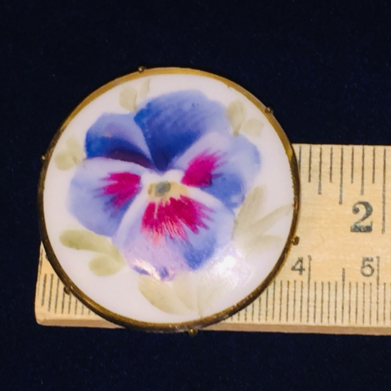 Antique Victorian Pansy Flower Blue Hand Painted … - image 2