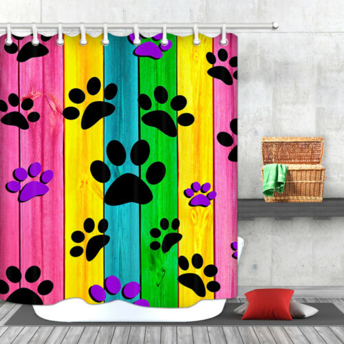 Colorful Dog paw wooden wall Waterproof Fabric Bathroom Shower Curtain /& Hooks