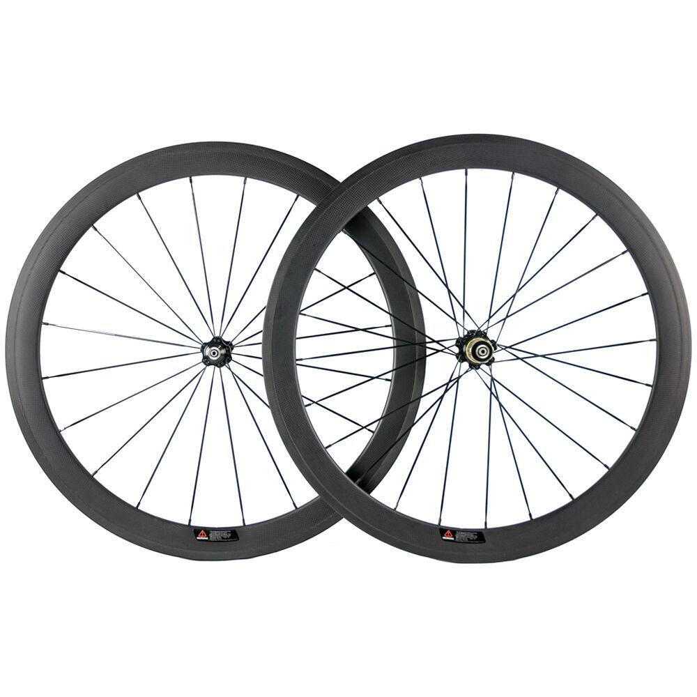 23mm Width Clincher 50mm Carbon Road Wheels Bike Wheelset 3K Matte 271 Hub 700C
