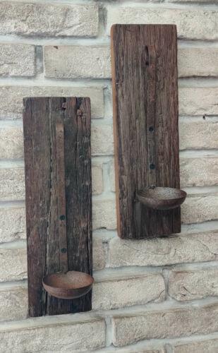Wand-Kerzenhalter 2er Set Holz Wandkerzenständer Kerzenständer Wandfackel