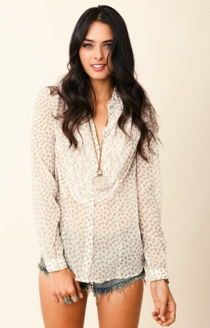 New Free People All That Glitters Button Down Sheer Floral Lace Blouse Small S