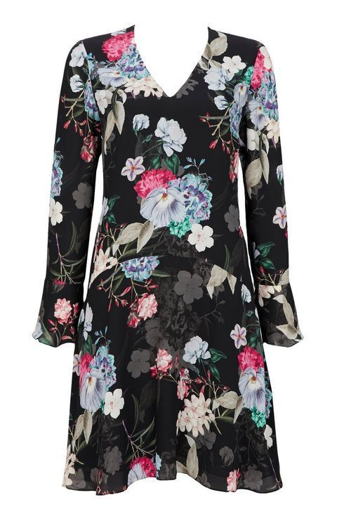 Wallis Dropped Waist Floral Shift Dress Size LF089 HH 01