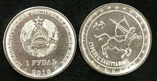 """TRANSNISTRIA 1 RUBLE 2016 ZODIAC /""""SAGITTARIUS/"""" COIN UNC"""