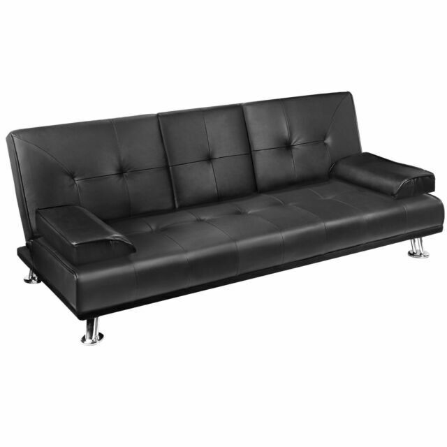 Artiss Retro 3 Seater Pu Leather Sofa, Black Leather Sofa Bed Couch