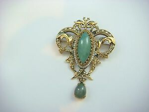 ! AMAZING ANTIQUE 14K GOLD LARGE JADE AND SEED PEARLS BROOCH-PENDANT, 14.3 GR.
