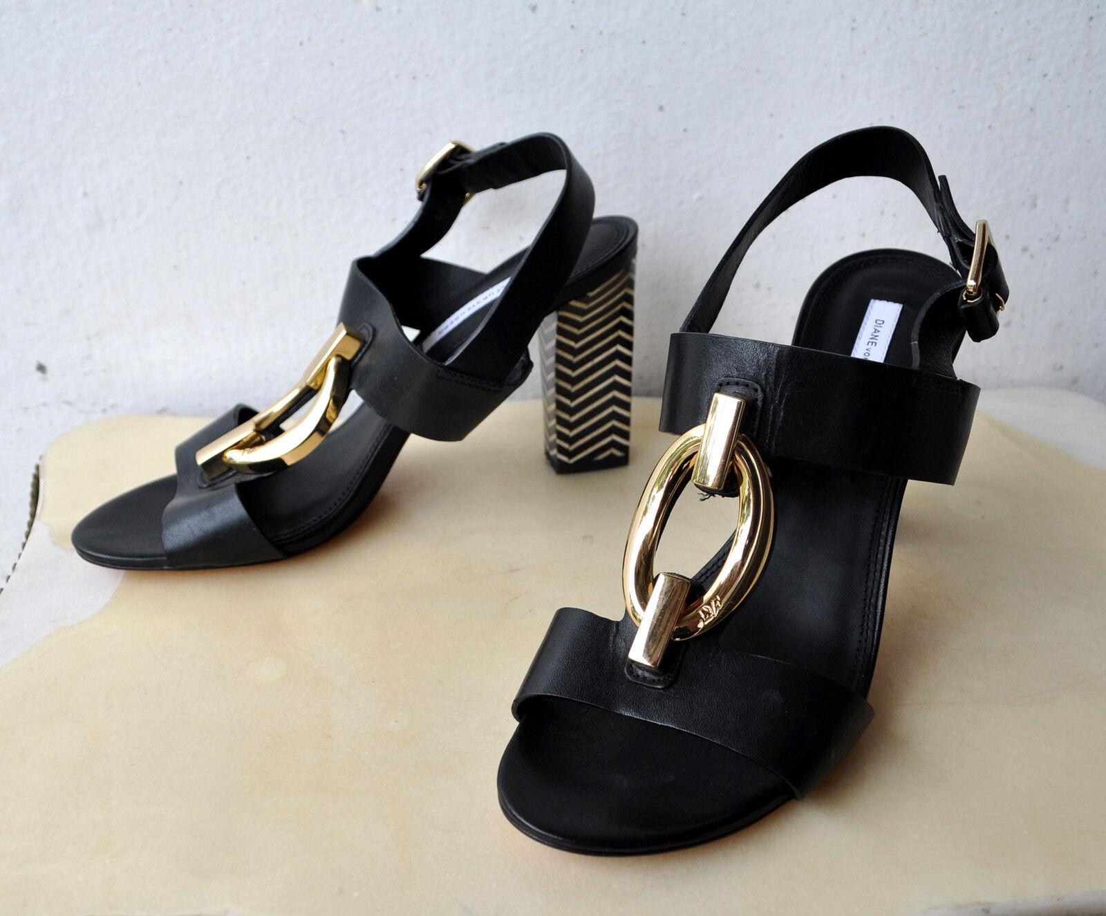Diane Von Furstenberg Dvf Cuero Negro Negro Negro Sandalias Tacones Talla 8.5 iniciación Raro Agotado  opciones a bajo precio