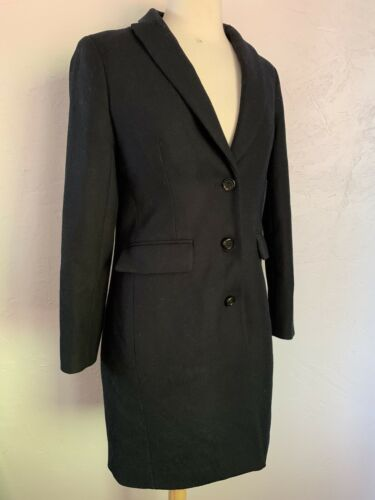 J.CREW $325 Navy Blue Wool Coat Size 0 Trench Pea… - image 1