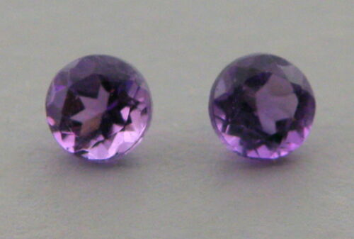 8mm MATCHING PAIR ROUND CUT NATURAL UNTREATED PURPLE AMETHYST