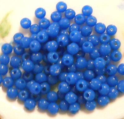 #24A Vintage Beads Glass Capri Blue Destash 5mm Small Jewelry Making NOS OLD Fun