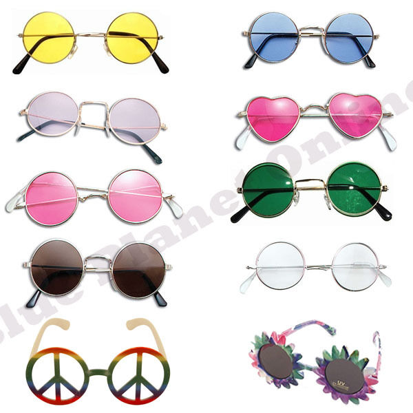 Hippy Hippie 60s 70s John Lennon Round Ozzy Granny Fancy Dress Glasses Yellow