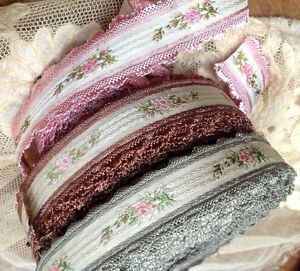 VINTAGE-Jacquard-Rayon-1-034-TRIM-FRANCE-RIBBON-1yd-Embroidered-SILK-Roses-SCALLOP