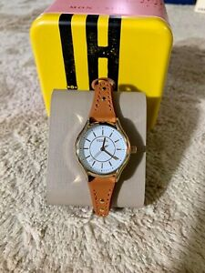 Fossil-Ladies-Gold-Tone-Stainless-Steel-Leather-Band-Watch-BQ3067-Dark-Brown
