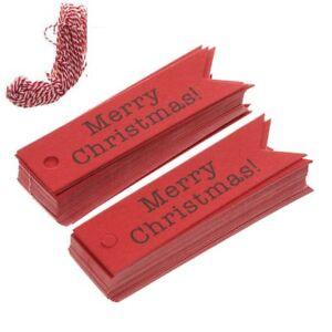 100pcs-Supplies-Papier-Kraft-Etiquette-cadeau-Queue-De-Poisson-Joyeux-Noel