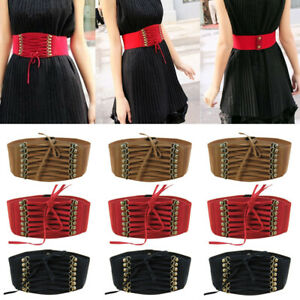 Black Butterfly 3 Inch Wide Corset Button Fastening Lace Up Elastic Waist Belt