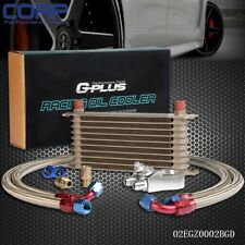 10 Row 10AN Universal Engine Transmission Oil Cooler + Filter Adapter Kit Gold