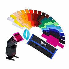20 Color Gels Diffuser Filter Kit for Canon/Nikon/Oloong/Yongnuo FLash/Speedlite