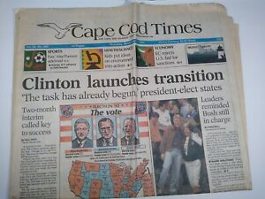 CAPE-COD-TIMES-MA-NEWSPAPER-Nov-5-1992-CLINTON-LAUNCHES-TRANSITION-Bush-Perot