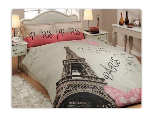100% Cotton High Quality 3pcs Twin Single Paris New York Bedding Duvet Cover Set