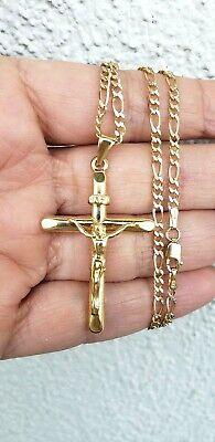 "14k yellow gold jesus crucifix inri cross pendant Figaro 20/"" chain set necklace"