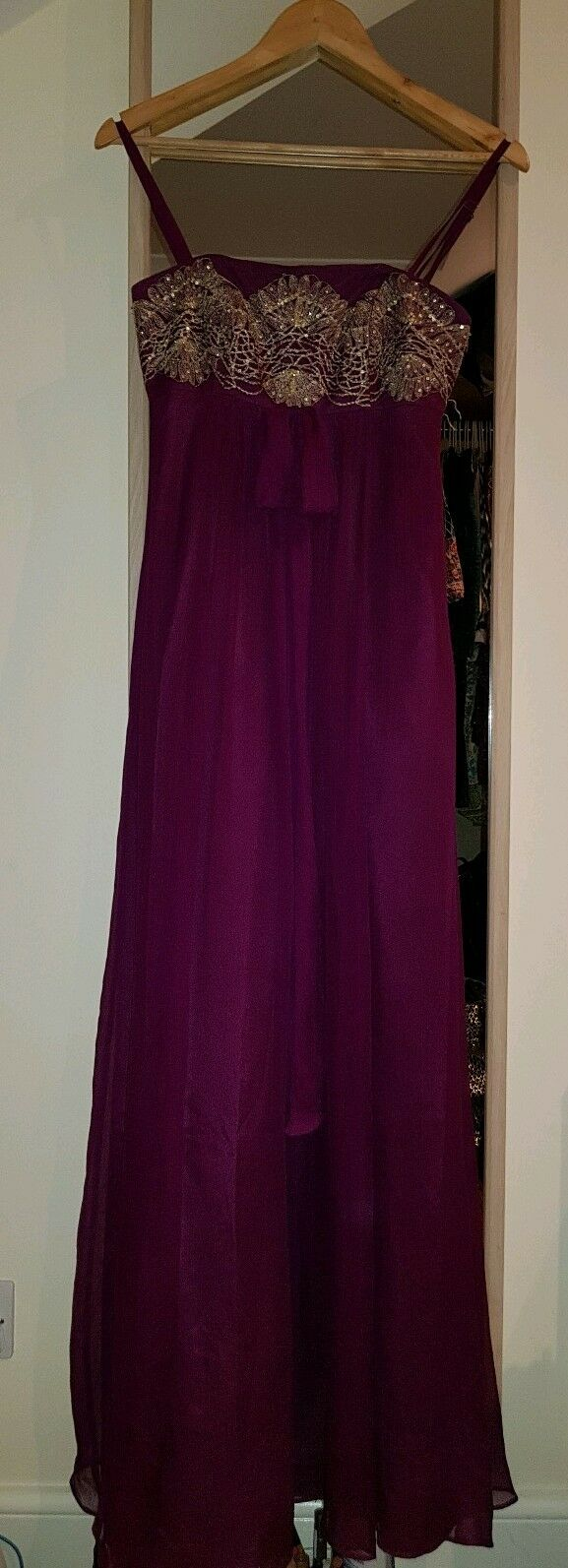 Beautiful Plum Gown. Dress. gold Embroidery. Size 8. Monsoon. Excellent.