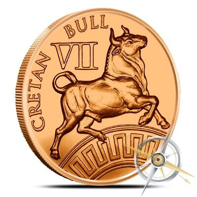 1oz .999 BU copper round Cretan Bull 7th of the 12 Labors of Hercules