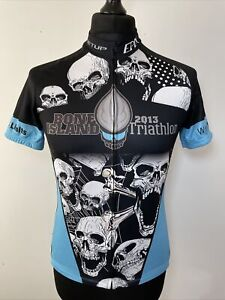EPIX Bone Island 2013 Triathlon Key West FL Skulls Retro Cycling Shirt Jersey S