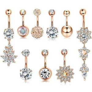 9-Pcs-14G-Stainless-Steel-Dangle-Belly-Button-Rings-Barbell-Navel-Piercing-CZ