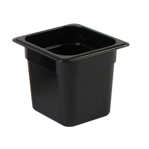 Thunder Group PLPA8166BK Sixth Size 6-Inch Deep Black Polycarbonate Food Pan