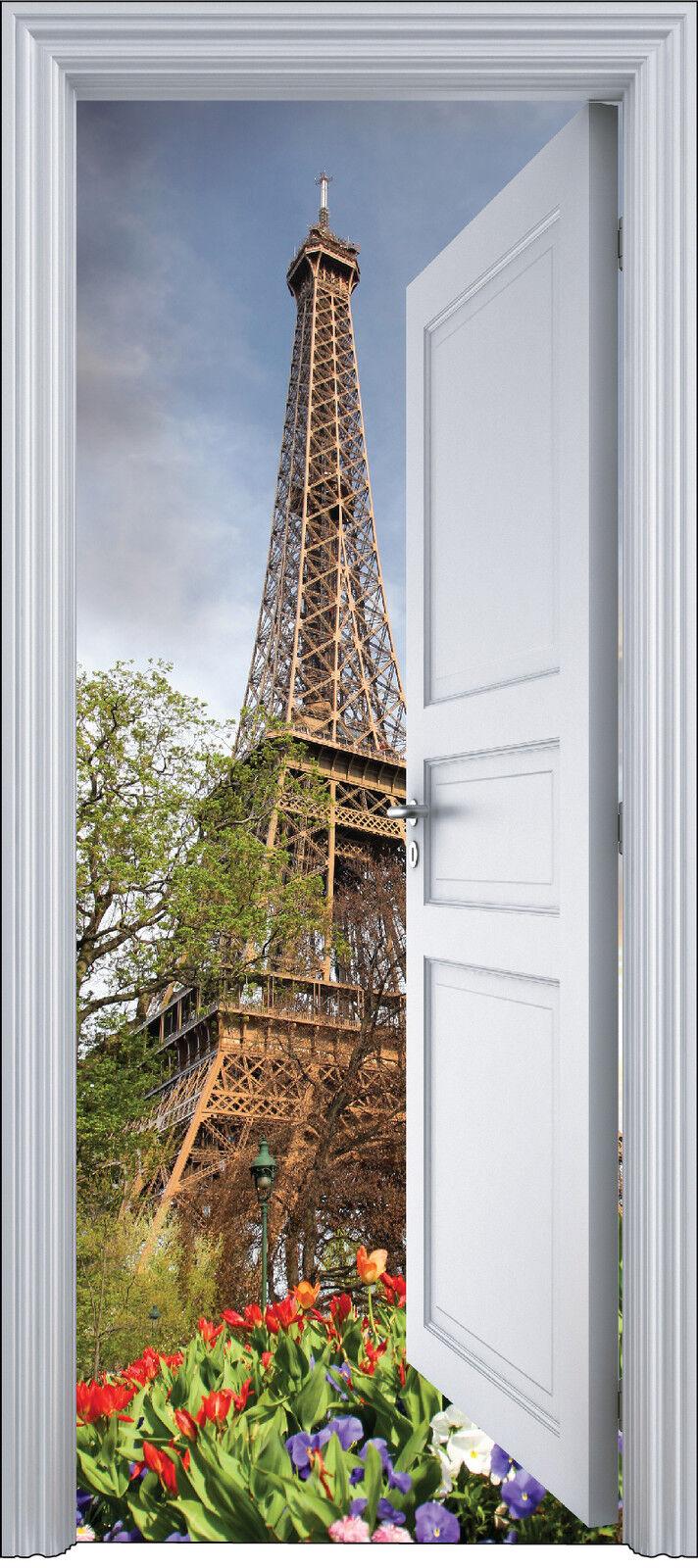 Adhesivo Puerta Trompa Trampantojo Decoración Torre Eiffel 90x200 cm Ref 2110