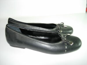WOMENS-BLACK-LEATHER-COMFORT-CASUAL-CAREER-BALLET-FLATS-HEELS-SHOES-SIZE-7-5-M