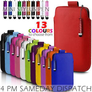 LEATHER-PULL-TAB-SKIN-CASE-COVER-POUCH-MINI-STYLUS-FITS-VARIOUS-MOBILEPHONES