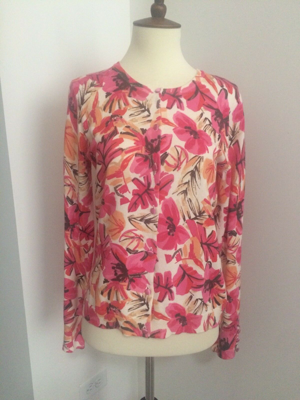NWT Sigrid Olsen Long Sleeve Pink Floral Cardigan Sweater Cotton XS MSRP  139