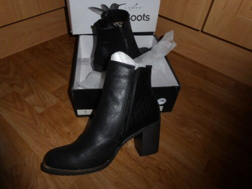 Block Leather Boot Size Lunar Women's new 6 Design Black 39 Heeled 'flossie' 6a6qXnA