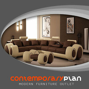 Brown And Beige Franco Sectional Sofa With Footrest Modern Italian