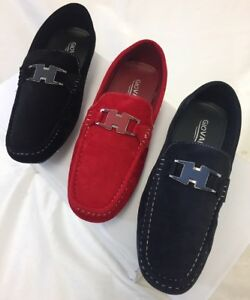 Men's Giovanni Loafer Dress Shoes Italian Style Casual Slip On Black Red Navy Blue M15-46
