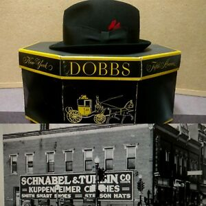 Vtg-Dobbs-Fifth-Ave-Mens-Hat-w-Box-Black-Felt-SZ-7-Schnabels-Wisconsin-Rapids