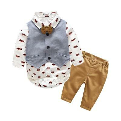 Kimocat 2pcs Gentlemen Clothing Set Baby Boys Stripe Tuxedo Waistcoat Vest Pant Suit