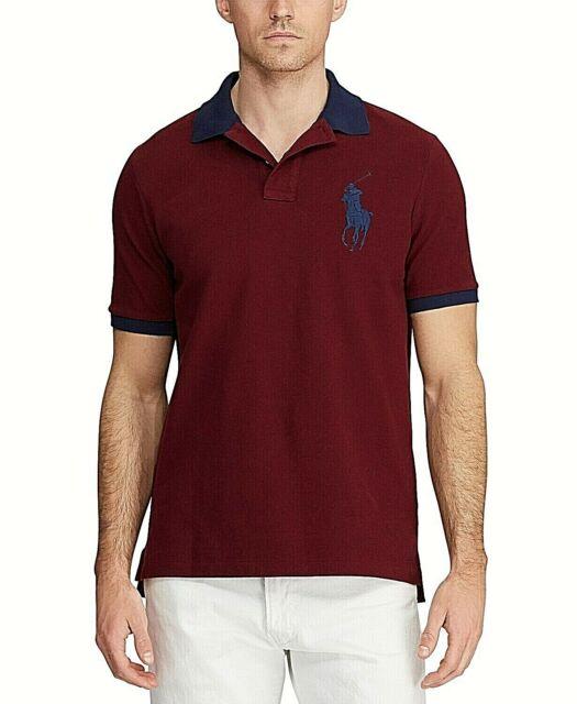 Polo Ralph Lauren Burgundy Red Navy Big Pony Classic Fit Shirt Men's XL