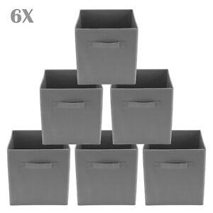 Gray Foldable Square Canvas Storage Collapsible Folding Box Fabric Cubes Toys