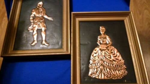 2pc Victorian Man & Lady VINTAGE Framed Embossed Hammered Copper Pictures SIGNED