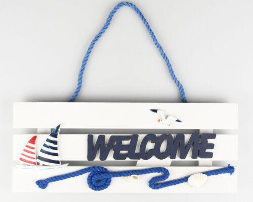 "Shabby-Look Maritimes Türschild Wandschild /""Welcome/"" NEUWARE 27,5cm"