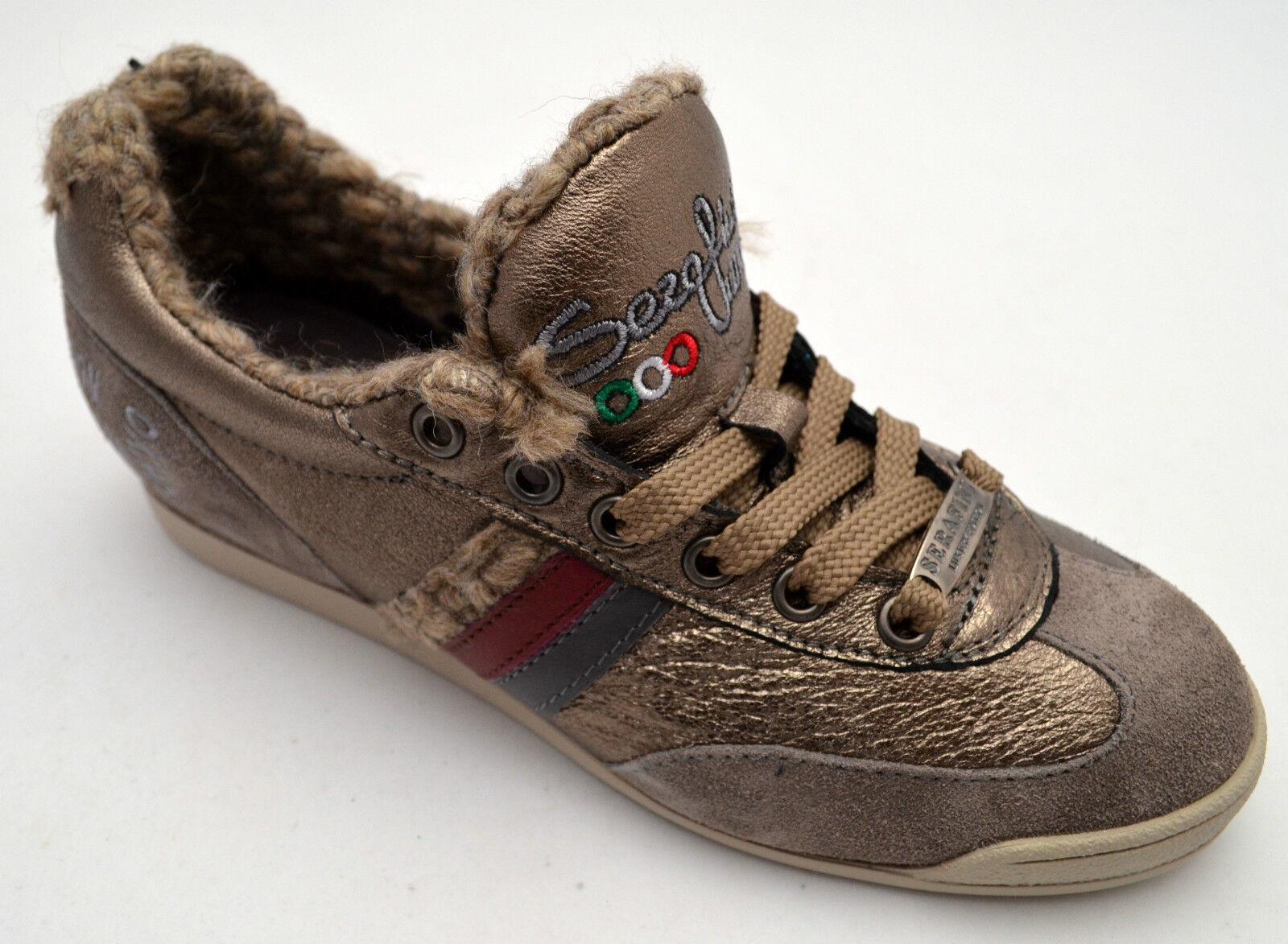 Serafini Taupe zapatos zapatillas pelle zapatos mujer Mujer Nere Luxury Taupe Serafini 1355 Lamè New d3fd2e