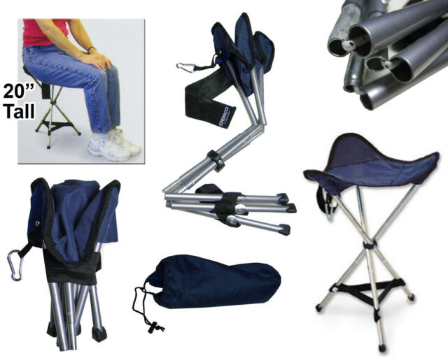 Tall Adult Folding Tripod Stool Travel Chair Soft Seat Fishing Hunting Camping