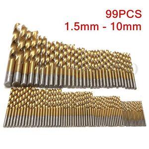 99X-HSS-Foret-1-5-10mm-Titane-Forage-Acier-Perceuse-Percage-Drill-Bits-Fraises