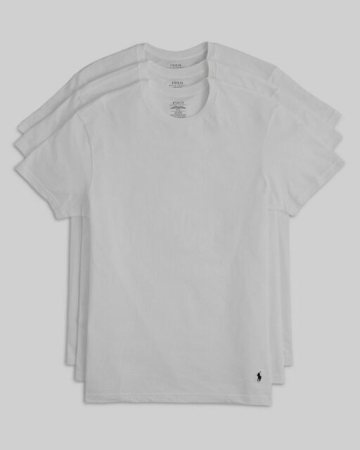 $74 Polo Ralph Lauren Men's White Crew Neck Classic Undershirt 3-Pack T-Shirt L