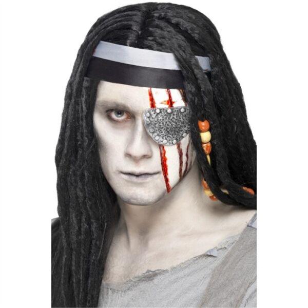 100% Vero Silver Pirata Benda Sull'occhio Mutilazione In Gomma Con Adesivo-costume
