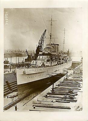 """""""croiseur Anglais Shropshire (crÊte 1931)"""" Photo Originale G.devred (agce Rol) Exquise (On) Vakmanschap"""