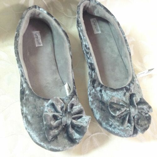 Jaclyn Smith Womens House Shoes Size M 7//8 Gray Velvet Lounge Warm Cozy NWT