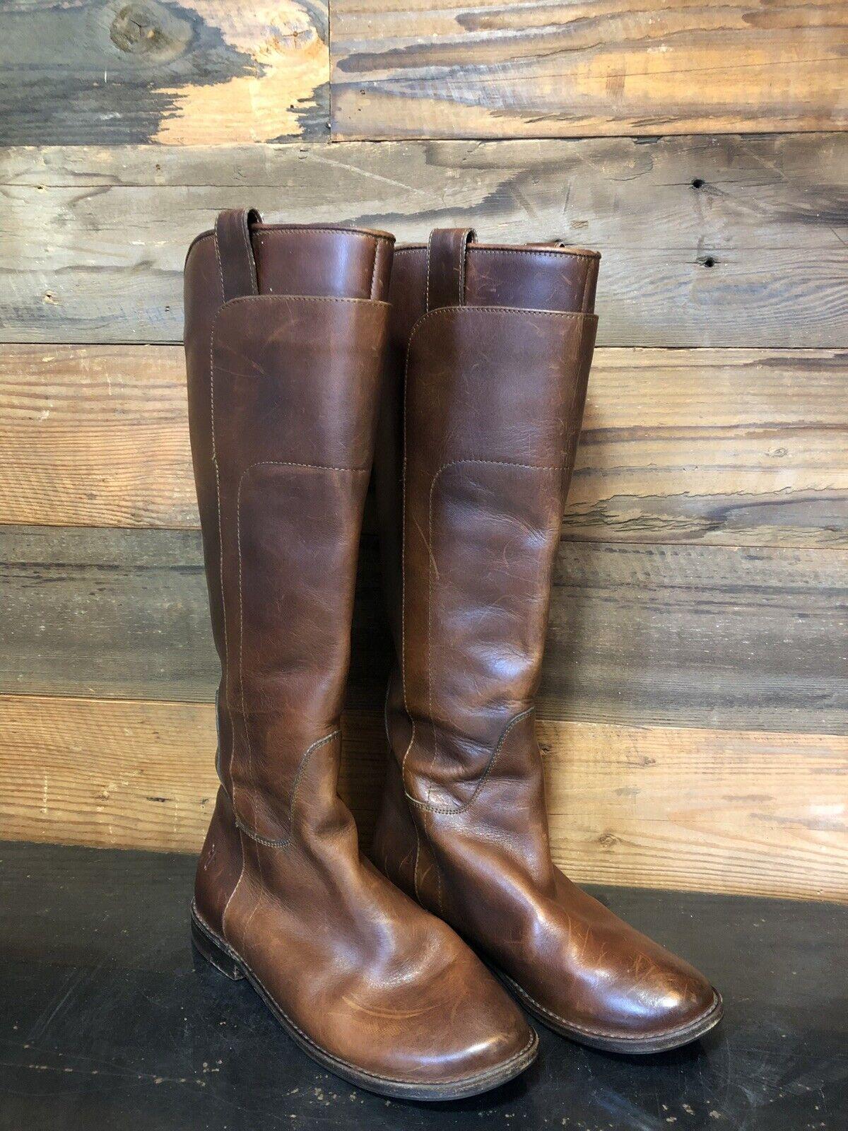 Frye Paige para Mujer 77535 5.5 B Alto Marrón Cuero Equitación botas Hasta La Rodilla