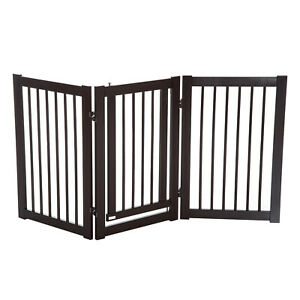Wooden Pet Gate Indoor Dog Barrier Foldable Step Over Doorway Fence